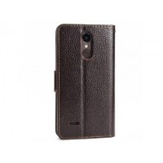 Slim Synthetic Leather Wallet Case with Stand for LG K4 (2017) - LG Leather Wallet Case (Brown)