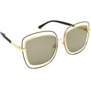 TARA JARMON Over-sized Sunglasses(Golden, Grey)