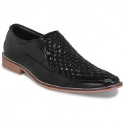 Shoegaro Men's Black Synthetic Leather Party Slip On Formal Shoes