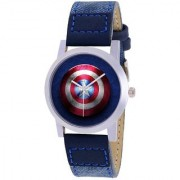 iDIVAS Captain Americas Fan Blue Leather Starp Watch UNIQUE LOOK With 1 year Warranty Watch - For Men