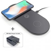 LXORY Dual Wireless Charging Pad - Double Qi Fast Charger For Two Phones (9W/Pad) Compatible With iPhone X/8, Samsung Note9/8/5, S9/S8/S7/S6 + All Qi Ready Phones - USBC Charging Mat 18W Adapter Incl.