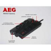 Kabel Razvodnik Naponski AEG Protect Business, crna, Schuko M utikač - Schuko F utičnica, 1.5m, 1x Schuko utikač, 6x Schuko utičnica, prekidač, prenaponska zaštita (600 000 7748)