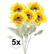 Bellatio flowers & plants 5x Gele zonnebloem kunstbloemen 82 cm