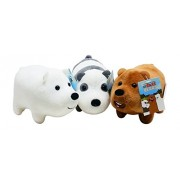 We Bare Bears Mini Plush Toy Set of 3 - Gift for We Bare Bears TV Show Fans - Grizz, Ice Bear, Panda - Each 5 inches long, Stackable