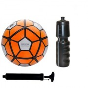 Kit of Ordem Orange/White Football (Size-5) with Air Pump Sipper