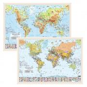 Harta scolara de perete a lumii, plastifiata 70x50 cm