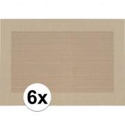 Geen 6x Placemat beige/bruine gevlochten/geweven print 45 x 30 cm