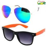 Elligator Reflected Aviator Sunglasses With Orange Wayfarer