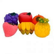 IndiPlay set of 6 Squeeze Fruit Toy (Realistic premium soft natural Ruber Squeeze Fruits Toy for Baby)