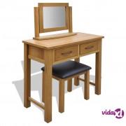 vidaXL Toaletni stolić od masivne hrastovine sa stolicom