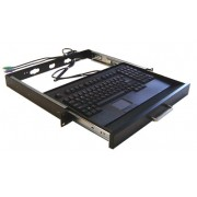 "Adesso 19"" 1U Rackmount Keyboard Drawer with built-in Touchpad Keyboard USB QWERTY Black"