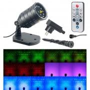 Lunartec Laser-Projektor mit 12 LEDs, 8 Licht-Effekte, Timer, Fernbed., IP65