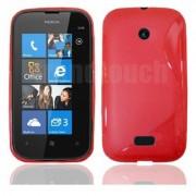 Nokia Lumia 510 Силиконов Калъф Червен + Протектор
