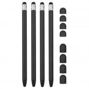 2-in-1 Universal Capacitive Stylus Pen - 4 Pcs. - Black