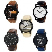 R P S fashion Round model for new collation combo pack of 5 men watch