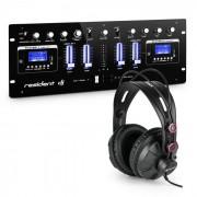 DJ405USB-BK Mixer 4 Canais Mesa de Mistura c/Auscultadores de Estúdio