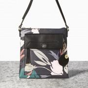 Malá černá kabelka crossbody Nica s květinovým vzorem