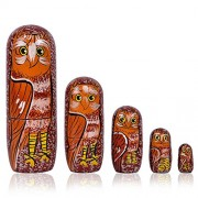 Fine Craft India Set of 5 Piece Hand Paints Matryoshka Traditional Nesting Stacking Wooden Owl Red Nested Dolls Christmas
