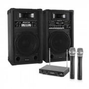 Electronic-Star Sistema de karaoke STAR-10 Set de altavoces PA activos Set de micrófonos inalámbricos VHF de 2 canales (PL-4657-2233)