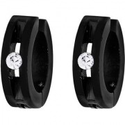 BeBold Non Piercing Black Hollow CZ Fashion Bali Stud Earrings for Men Boys