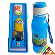 Pawan Plastic Minion Touch Down Combo Gift Set of Flip Cap Water Bottle & Double Leval Pencil Box For School Kids Boys & Girls ( Colours May Be Vary)
