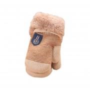 Cómoda de invierno espesar Velvet bebé lactante Chicas Chicos mantenga caliente guantes Beige