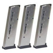 Wilson Combat 1911 8rd 45acp Elite Tactical Magazines 3 Packs + Pouch - Govt .45 Acp 8-Rd, Silver, P