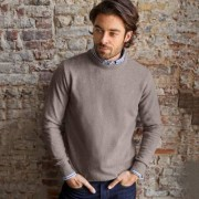 Blancheporte Pull col rond 80% laine taupe clair 97/106