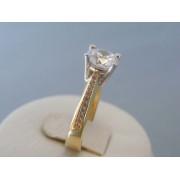 Zlatý dámsky prsteň žlté biele zlato zirkóny VP56339V 14 karátov 585/1000 3.39g