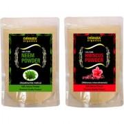 Donnara Organics 100% Natural Neem Powder and Hibiscus powder Combo pack of 2 of 150 gms(300 gms)