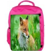 Snoogg Eco Friendly Canvas Small Fox Designer Backpack Rucksack School Travel Unisex Casual Canvas Bag Bookbag Satchel 5 L Backpack(Pink)