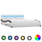 vidaXL fehér és fekete LED-es műbőr ágykeret 160 x 200 cm