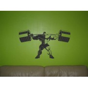 Athletic man lifting a bareballs wall sticker.
