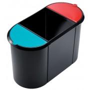 Cos plastic cu 3 separatoare (1x20l si 2x9l), pentru reziduuri, HELIT - negru/rosu/verde