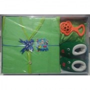 New Born Baby Gift Set With 4 Items(Green)