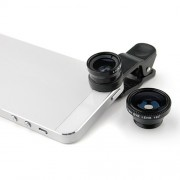 Set 3 Lentile cu Clips Camera Foto Smartphone Macro, Fish Eye, Wide Angle