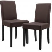 [en.casa]® Dizajnové čalúnené stoličky - 2 kusová sada - hnedé