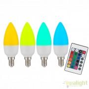 Bec cu telecomanda dimmabil E14 RGB LED candle opal 3,5W, 200Lm 106754 GL