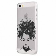 Husa Silicon Transparent Slim Woman B and W Apple iPhone 5 5S SE