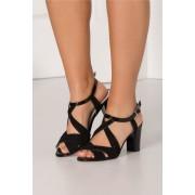 Sandale negre din piele intoarsa
