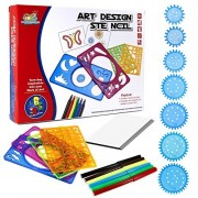 Spiral Graph Drawing Set with 6 Colorful Pens Drawing Gear Art Design Kit Educational Toys Gift for Kids and Adults