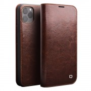 QIALINO Genuine Cowhide Leather Wallet Case for iPhone 11 Pro Max 6.5 inch (2019) - Brown