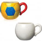 Porseleinen bekers in de vorm van een voetbal voor kinderen om te verven en versieren - Knutselset van porselein voor kinderen (doos van 2)