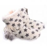 Merkloos Hoge dames pantoffels/sloffen met sterren print creme wit