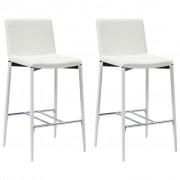 vidaXL Бар столове, 2 бр, бели, изкуствена кожа
