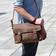 Delton Bags Braune Messenger-Ledertasche