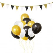 Belle Vous 106 Piece Gold, White & Black 12 Latex Party Balloons and Banner Decorations Set by for Birthday Kids Parties Baby Showers Graduation Wedding Celebrations - Bulk Decoration Supplies