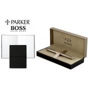 Set Stilou Sonnet Sterling Silver Parker argint masiv & penita aur si Note Pad Black Hugo Boss