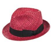 HUTTER cappello trilby in paglia naturale con guarnizione nastro firmato Hutter