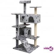 vidaXL Penjalica Grebalica za Mačke sa Stupovima od Sisala 125 cm Siva s Otiskom Šapa